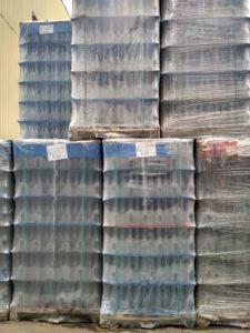 склад пустых бутылок на заводе ЗАО Игристые Вина на паллетах