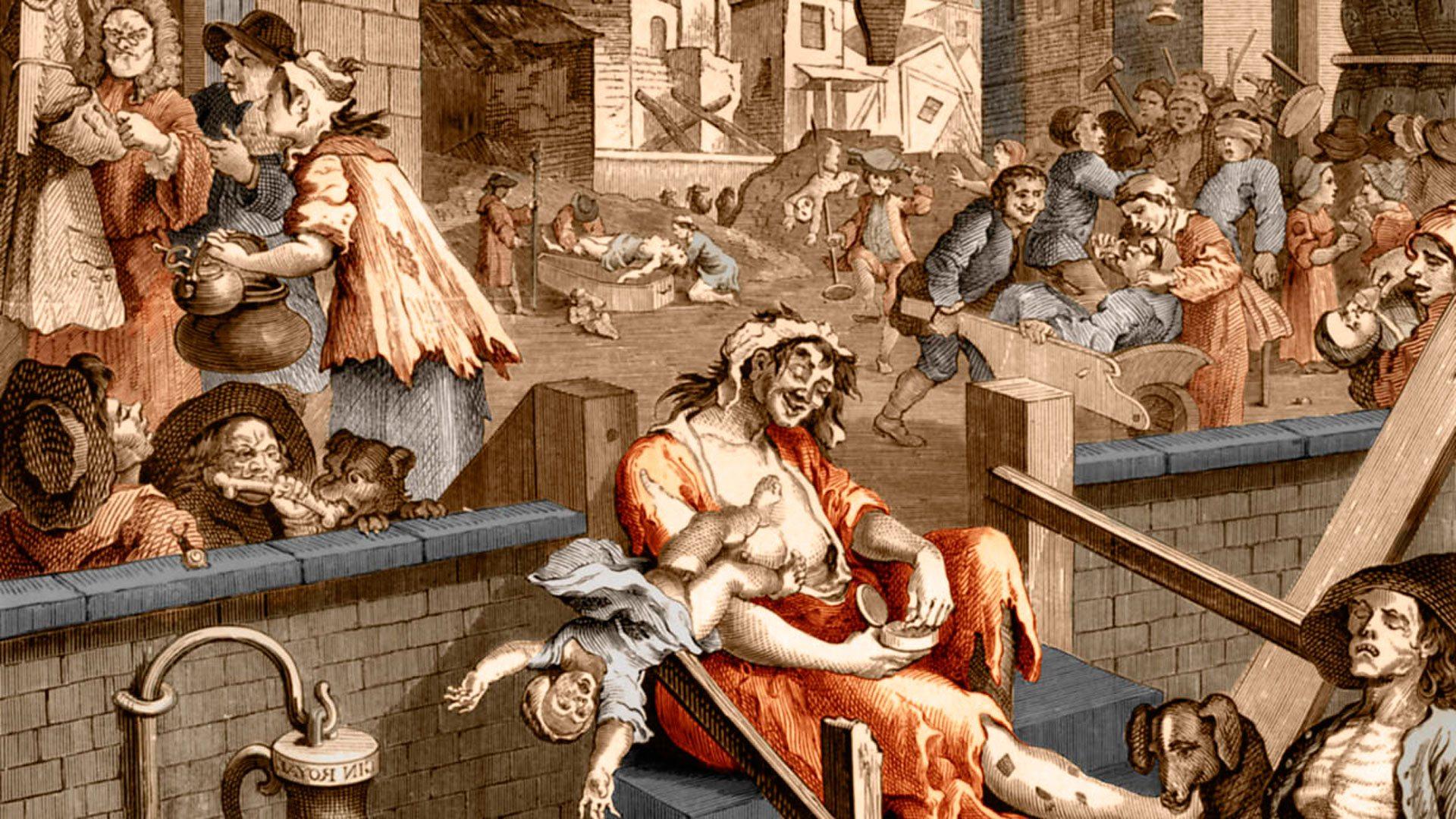 Гравюра эпохи «джин и имбирные пряники» изображает лондонцев на замерзшей Темзе.