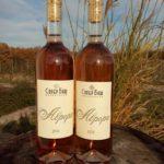 две бутылки открытого вина на природе среди травы
