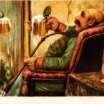 старая открытка на которой мужчина пьёт пенный напиток пиво напротив зеркала