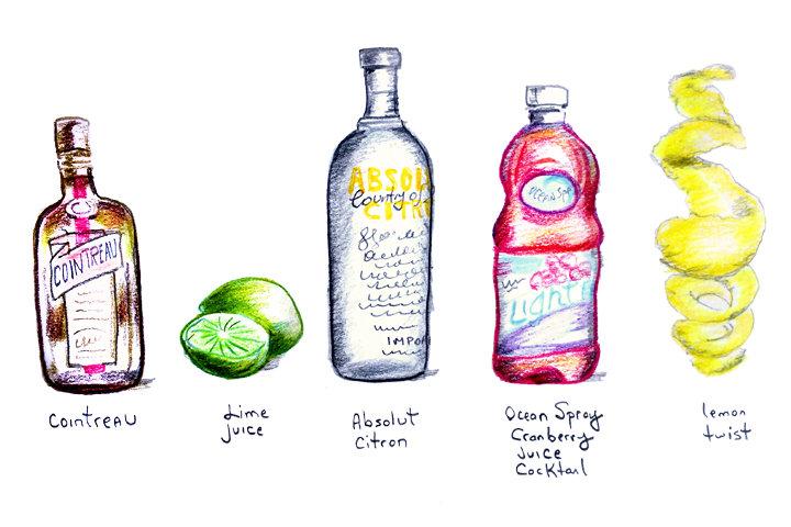 Ингредиенты для коктейля космополитен космо водка цитрон сок лайма морс